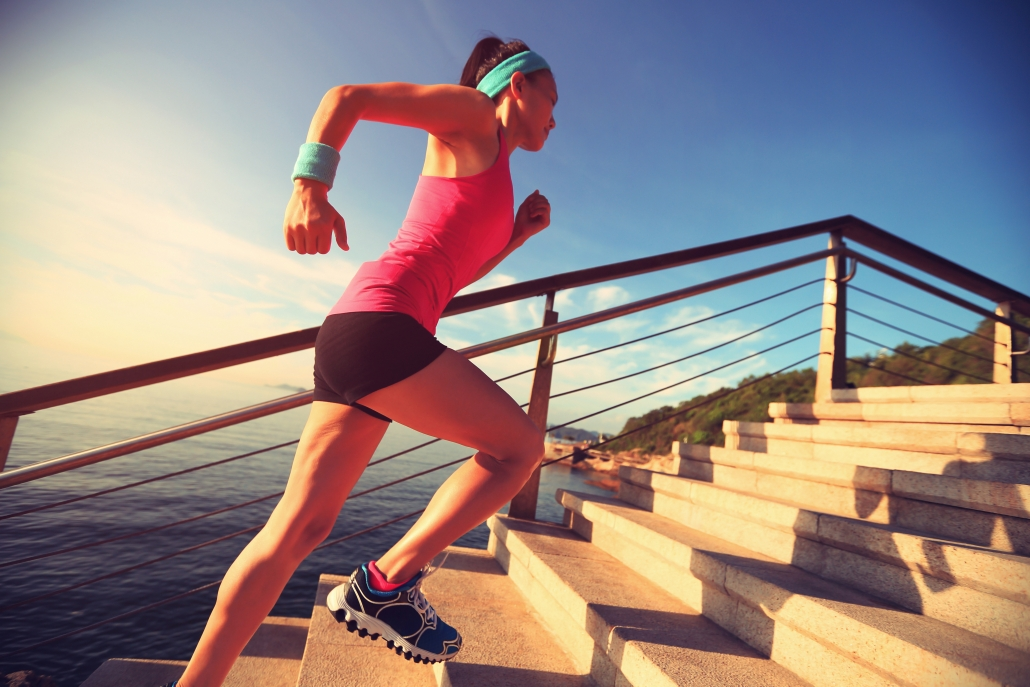 best exercises for varicose veins and leg health: running stairs on beach